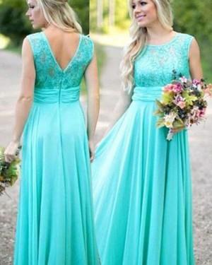 Jewel Mint Chiffon Long Bridesmaid Dress BD2061