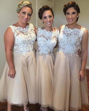 Bateau Champagne Tulle Tea Length Bridesmaid Dress BD2063