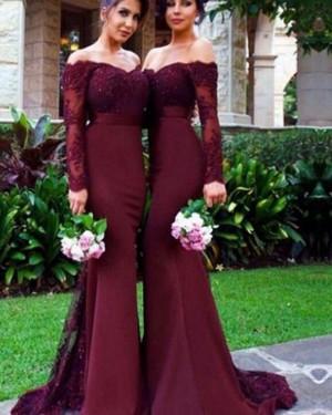 Burgundy Appliqued Mermaid Bridesmaid Dress BD2064