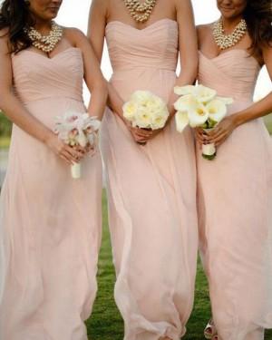 Sweetheart Ruched Pink Chiffon Simple Bridesmaid Dress BD2065