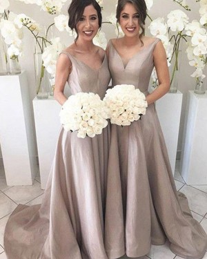 V-neck Pleated Nude Floor Length Simple Bridesmaid Dress BD2066