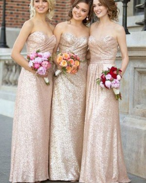 Sweetheart Sequined Ruched Gold Bridesmaid Dress BD2067