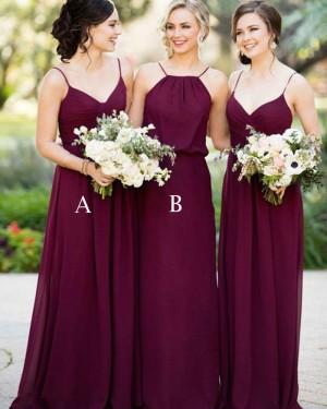 Spaghetti Straps Burgundy Chiffon Ruched Bridesmaid Dress BD2068