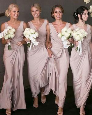 V-neck Ruched Chiffon Dusty Pink Bridesmaid Dress BD2071