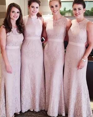 Jewel Lace Nude Lace Sheath Bridesmaid Dress with Belt BD2072
