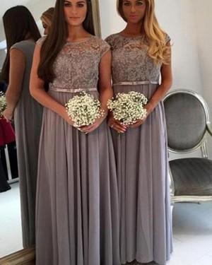 Jewel Grey Pleated Chiffon Bridesmaid Dress BD2073