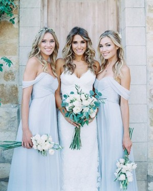 Dusty Blue Off the Shoulder Ruched Chiffon Bridesmaid Dress BD2075