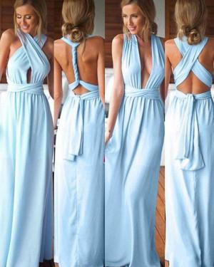 Long Variable Dusty Blue Chiffon Bridesmaid Dress BD2076