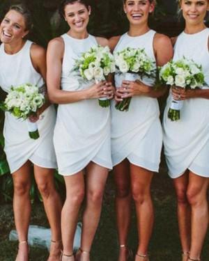 Short Round Neck Chiffon Sheath Bridesmaid Dress with Tulip Skirt BD2079
