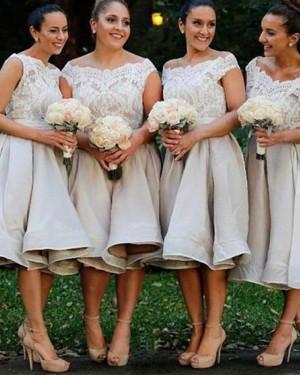 Off the Shoulder Grey Satin Knee Length Bridesmaid Dress BD2080