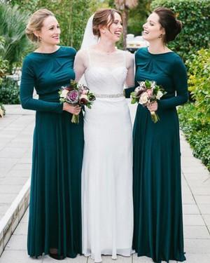 Jewel Dark Green Pleated Bridesmaid Dress with Long Sleeves BD2081