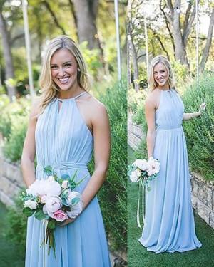 Long Halter Ruched Chiffon Blue Bridesmaid Dress BD2082