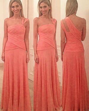 One Shoulder Coral Pink Ruched Long Bridesmaid Dress BD2084