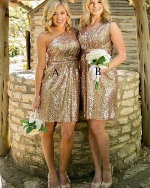 Short One Shoulder Gold Sequined Bridesmaid Dress BD2085