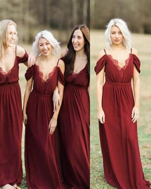 Long Cold Shoulder Red Pleated Bridesmaid Dress BD2086