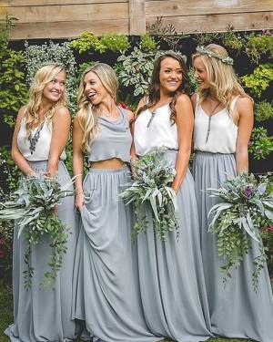 V-neck Chiffon Pleated Long Bridesmaid Dress BD2087