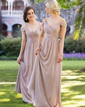 Long Cold Shoulder Ruched Brown Bridesmaid Dress BD2089