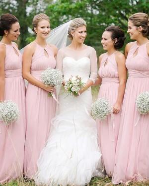 High Neck Cutout Ruched Chiffon Empire Pink Bridesmaid Dress BD2090
