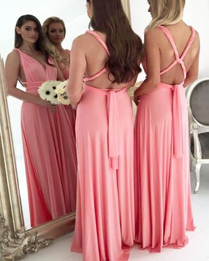 Long Convertible V-neck Pink Chiffon Bridesmaid Dress BD2094