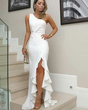 Long One Shoulder White Satin Mermaid Formal Dress with Pleated Slit BD2095