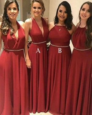 Long Halter Chiffon Red Pleated Bridesmaid Dress with Beading Belt BD2096