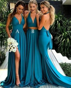 Long Empire Halter Cyan Deep V-neck Bridesmaid Dress with Side Slit BD2098