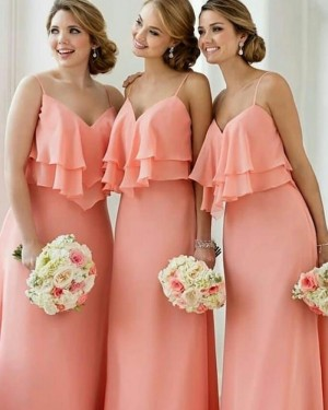 Long Spaghetti Straps Layered Pink Bridesmaid Dress BD2099