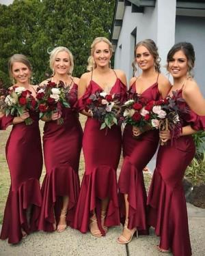 Long Halter Burgundy Mermaid Bridesmaid Dress BD2100