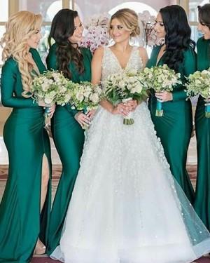 V-neck Green Satin Mermaid Bridesmaid Dress with Slit BD2102