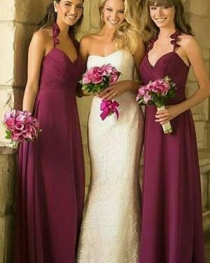 Long Halter Ruched Burgundy Bridesmaid Dress BD2103