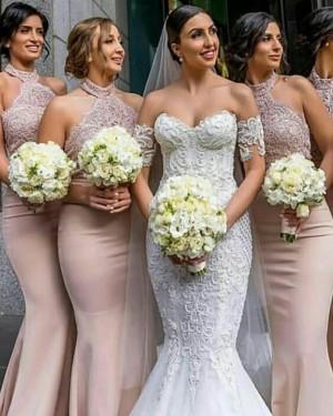 Long Halter Lace Appliqued Mermaid Nude Bridesmaid Dress BD2104
