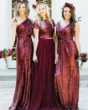 Long One Shoulder Rose Gold Sequined Sheath Bridesmaid Dress BD2106
