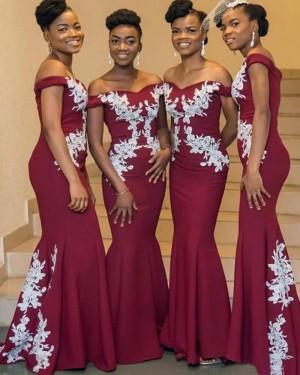 Off the Shoulder Burgundy Appliqued Mermaid Satin Bridesmaid Dress BD2150