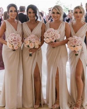 Chiffon V-neck Mermaid Ruched Bridesmaid Dress with Side Slit BD2152