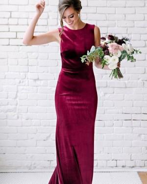 Jewel Neck Mermaid Velvet Burgundy Bridesmaid Dress BD2153