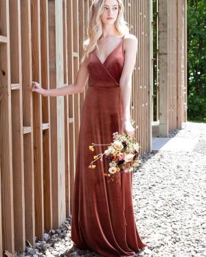 Spaghetti Straps Velvet A-line Simple Bridesmaid Dress BD2154