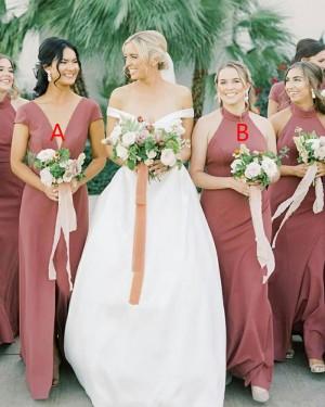 V-neck Satin Simple A-line Bridesmaid Dress with Middle Slit BD2155