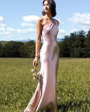 One Shoulder Velvet Light Pink Mermaid Bridesmaid Dress BD2156