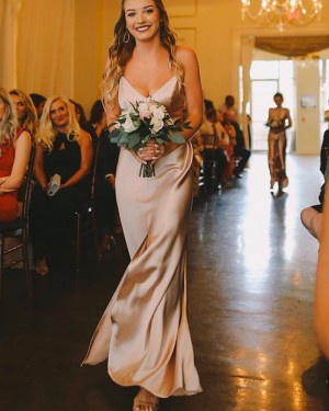 Champagne Simple Spaghetti Straps Bridesmaid Dress with Middle Slit BD2157