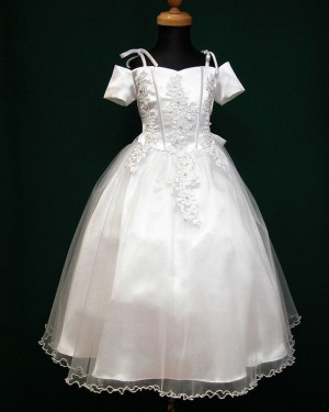 Cold Shoulder White Satin Appliqued First Communion Dress with Bowknot FC0001