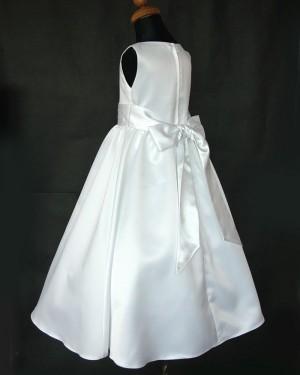 Tea Length Jewel White Satin First Communion Dress with Belt FC0002