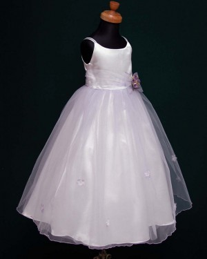 White Double Spaghetti Straps First Communion Dress with Handmade Flowers FC0003