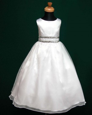 White A-line Jewel First Communion Dress with Beading Belt FC0004