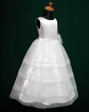 White Sparkle Tulle Jewel First Communion Dress with Handmade Flower FC0005