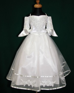White Tea Length Tulle Cold Shoulder Appliqued First Communion Dress with Half Length Sleeves FC0006