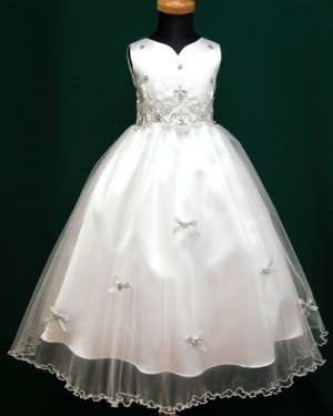 White Beading Appliqued V-neck Tulle Tea Length First Communion Dress FC0007