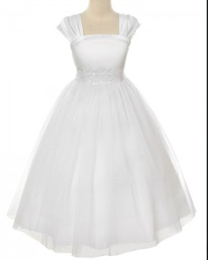 White Tulle Tea Length Square Beading First Communion Dress FC0008