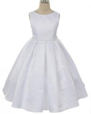Satin Tea Length Jewel White First Communion Dress with Beadings FC0009