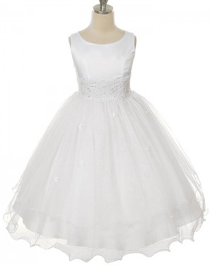 Lace Appliqued Scoop Tulle White First Communion Dress FC0010