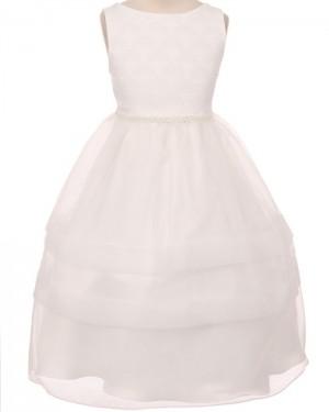 White Bodice Tulle Jewel Lace Tea Length First Communion Dress FC0011